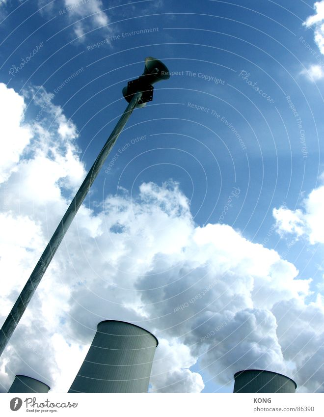 Sky Clouds Power Fog Weather Force Industry Tower Climate Loudspeaker Respect Caution Blue sky Steam Megaphone Alarm