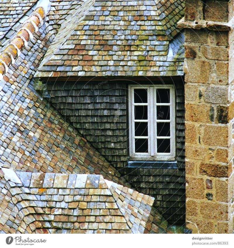 cottages Roof Chimney Window House (Residential Structure) France Normandie Cottage Detail Hut shale smoke stack smoke pipe windows French Tilt