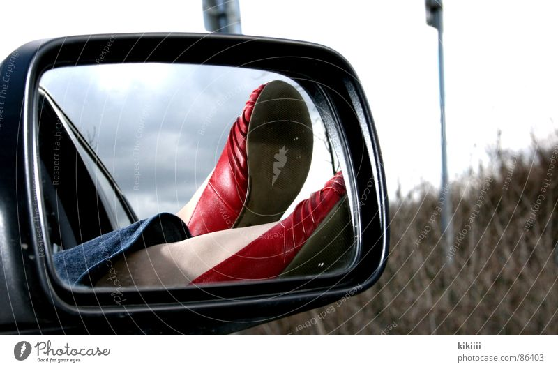 Red Summer Joy Black Relaxation Window Freedom Warmth Small Car Footwear Mirror Hang Boredom Self portrait Ballerina