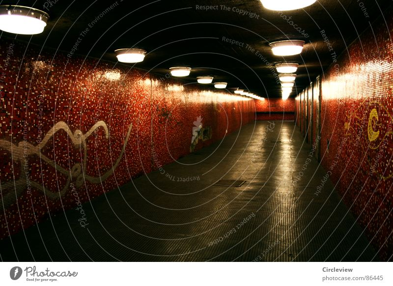 Red Lamp Light Tile Tunnel Hungary Budapest