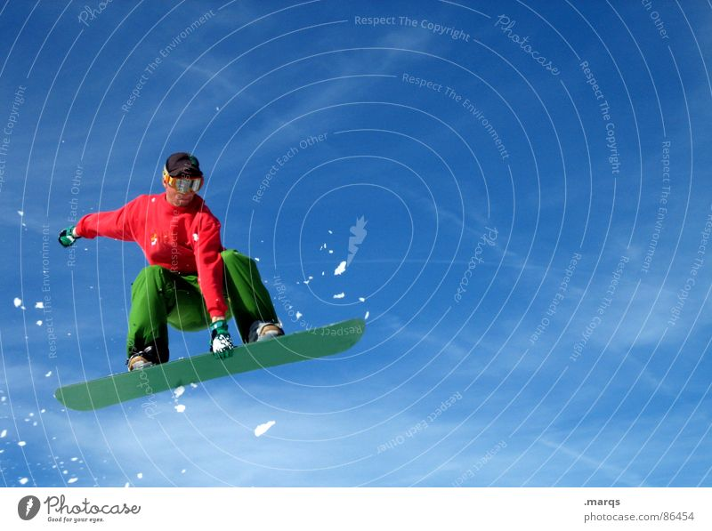 Blue Green Clouds Cold Movement Snow Sports Jump Speed Tall Touch Posture Athletic Concentrate Brave Dynamics