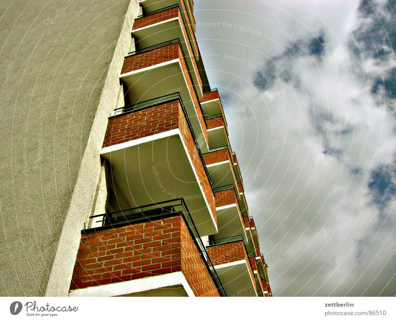 Middle residential area V House (Residential Structure) Balcony Worm's-eye view Clouds Sky Upward Skyward Central perspective Section of image Partially visible