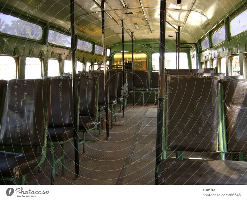Green Loneliness Window Road traffic Transport Empty Places Logistics Bench Station Train station India Bus Vehicle Seating Difference