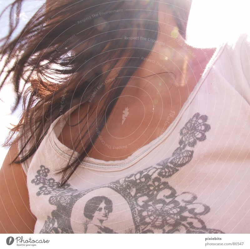 windswept Airy Pink Top Brunette Chin Beautiful weather Hair and hairstyles Upper body Gust of wind Summer Woman Neck shirt T-shirt hair in the wind long hair