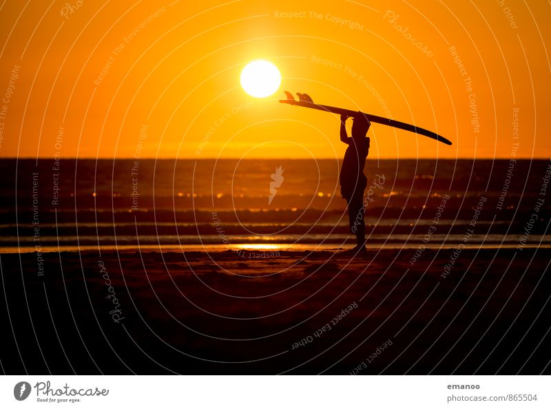 sunset surf Lifestyle Style Joy Vacation & Travel Far-off places Freedom Summer Summer vacation Sun Beach Ocean Waves Sports Aquatics Sportsperson Human being
