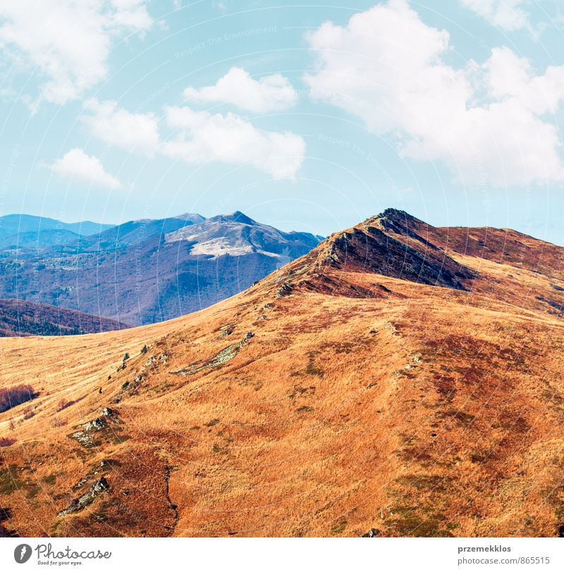 Beautiful autumn landscape in the mountains Sky Nature Blue Colour Red Landscape Clouds Mountain Meadow Autumn Grass Freedom Park Weather Hiking