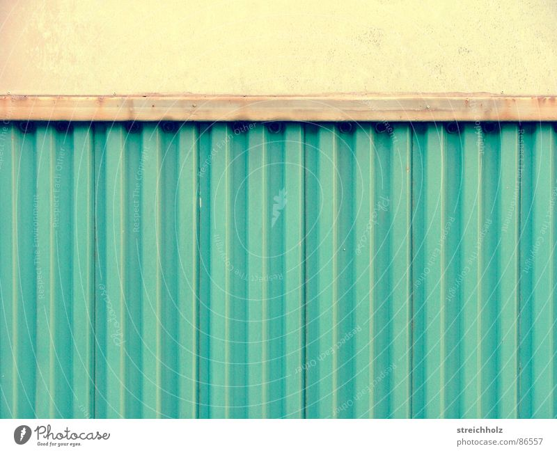 corrugated sheet Ossi Abstract Corrugated sheet iron Garage Calm Germany East Turquoise Soviet zone Soviet occupied zone Cyan GDR Partition wall Blackboard