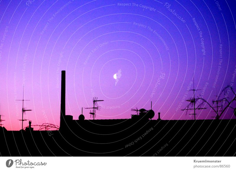 Seventh heaven? View from a window Sky Light Morning Moonlight Roof Factory Industrial district Industrial Photography Red Red sky Blue sky Antenna Beautiful