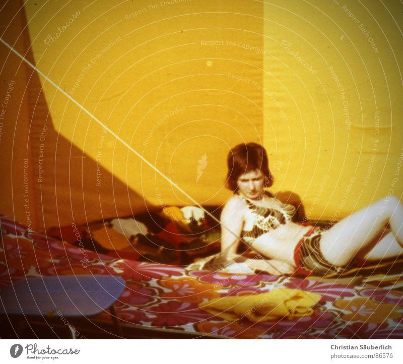 Woman Sun Summer Yellow Retro Chair Bikini Soul Weather protection Swimwear