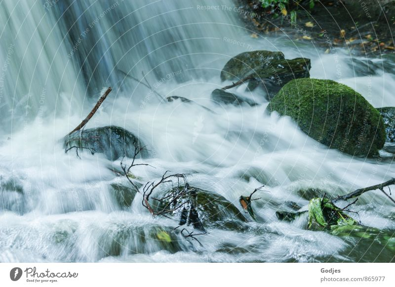 "water noise Nature Water Moss Leaf Waterfall Stone Wood Beautiful Blue Brown Gray Green Black White Power Purity Relaxation Peace Cold ""Waterfall stones Hissing"