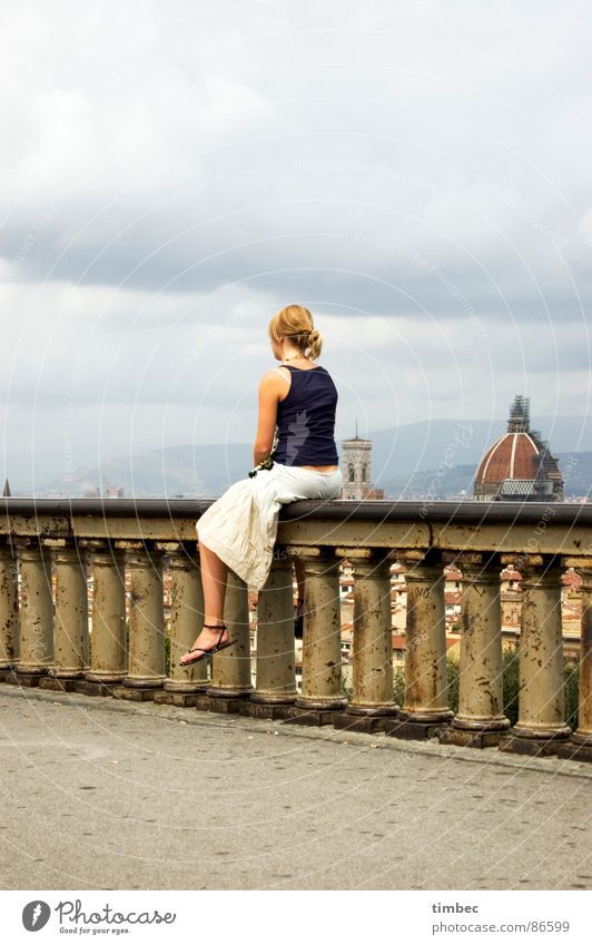 it's a beautiful day! Florence Countries South Historic Things Italy Woman Wall (barrier) Think Top Sky Portrait format Domed roof Dark Beautiful Memory Longing