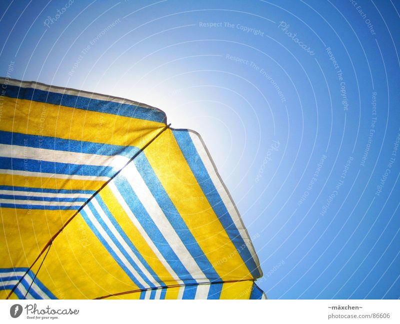 summerfeeling II Relaxation Vacation & Travel Summer Sun Sunbathing Beach Sky Cloudless sky Warmth To enjoy Blue Yellow White Sunshade sunshine swim bright blue