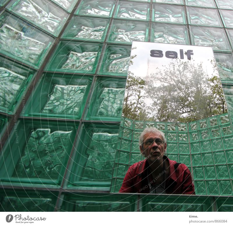 ... Masculine 1 Human being Art Exhibition Work of art Sculpture Wall (barrier) Wall (building) Glass block Mirror Mirror image Shirt Gray-haired Short-haired