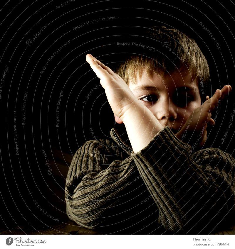 Hand Black Nutrition Dark Boy (child) Wood Head Sadness Think Bright Lighting Arm Table Communicate Stop Stripe