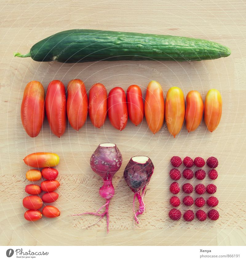 From the garden Food Vegetable Tomato Radish Raspberry Cucumber Green Red Harvest Ecological Colour photo Exterior shot Deserted Day