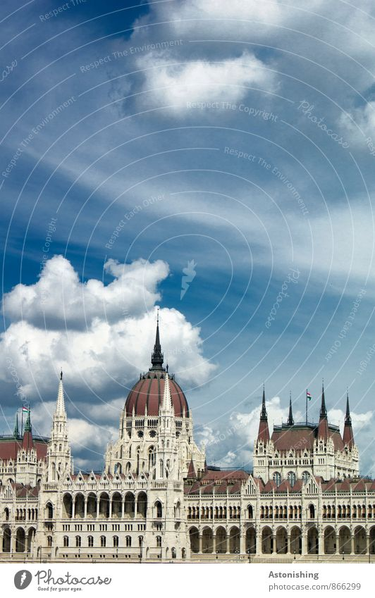 Parliament Budapest II Environment Air Sky Clouds Summer Weather Beautiful weather Hungary Town Capital city Old town House (Residential Structure) Palace