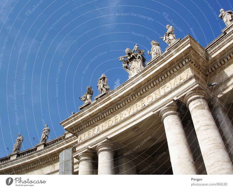 Religion and faith Art Statue Monument Historic Entrance Holy Column Rome Blue sky Sightseeing Tourist Attraction House of worship Catholicism Pope Vatican
