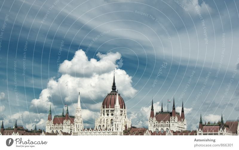 Parliament Budapest I Environment Air Sky Clouds Weather Beautiful weather Hungary Town Capital city Old town Deserted House (Residential Structure) Palace
