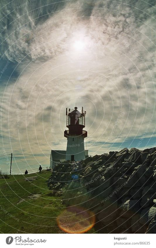 Lindesnes fyr Lighthouse Navigation Coast Meadow Clouds September Architecture Summer Wind Stone Sun