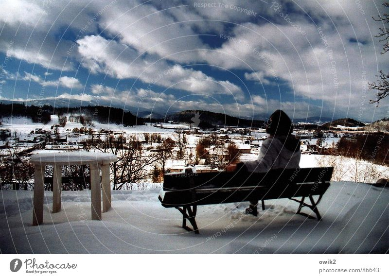 Human being Sky Nature Vacation & Travel Relaxation Landscape Calm Far-off places Winter Mountain Adults Environment Snow Freedom Tourism Sit