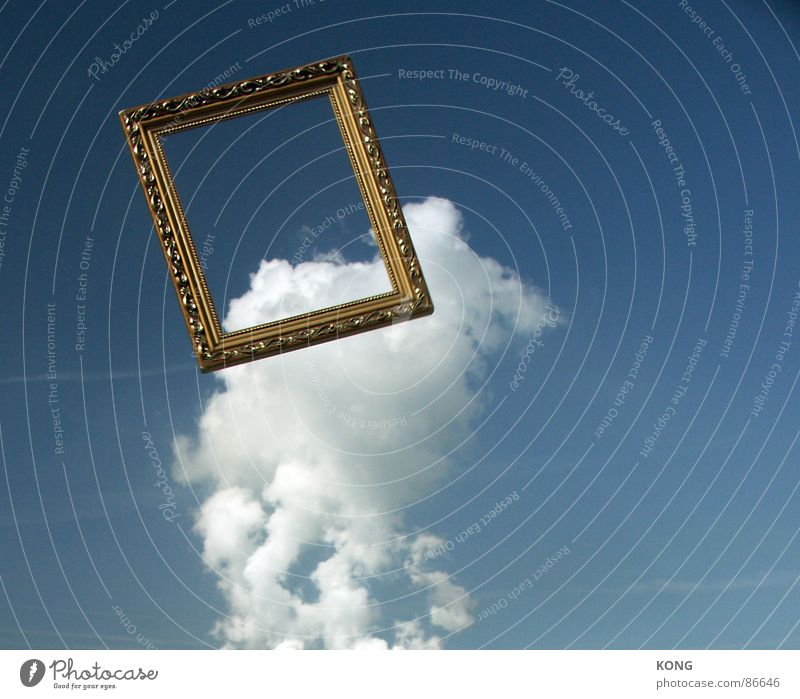 flying frame Downward Clouds Picture frame Sky blue Beautiful Frame Aviation Flying flight Throw Upward up in the frame cloud hanging in the air