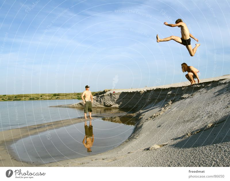 flying duck Jump Puddle Summer Action reflection. open pit mining Flying Desert Water Joy Dynamics Sky Shadow Tall Swimming & Bathing