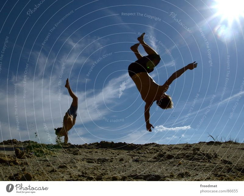 somersault Summer Back-light Salto Back somersault Action Physics Hot Light Sun Shadow Joy fun Dynamics Warmth Flying Sky