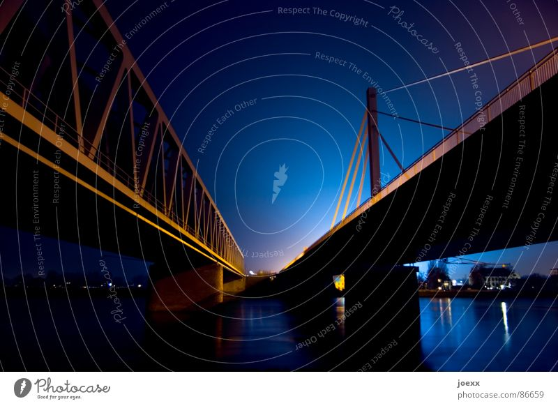 Sky Bright Lighting Bridge Electricity River Highway Steel Navigation Neon light Divide Connect Bridge railing Rhine Intersection Night shot