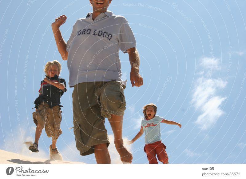 Child Summer Joy Playing Freedom Action Beach dune Spain Blue sky Tarifa