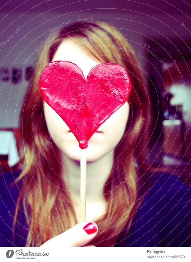 Woman Blue Red Face Love Hair and hairstyles Heart Sweet Hide Sugar Valentine's Day Concealed