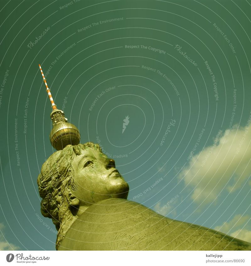 Woman Sky Berlin Hair and hairstyles Head Fashion Art Tall Feather Tower Level Well Middle Sphere Monument Statue