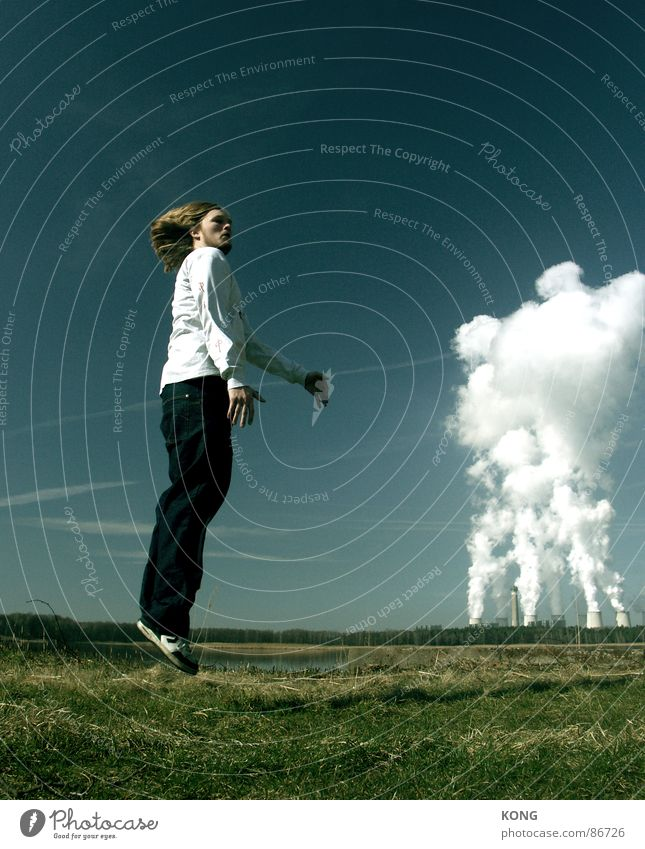 Sky Green Joy Clouds Meadow Above Jump Grass Hair and hairstyles Spring Power Tall Flying Speed Energy industry Aviation
