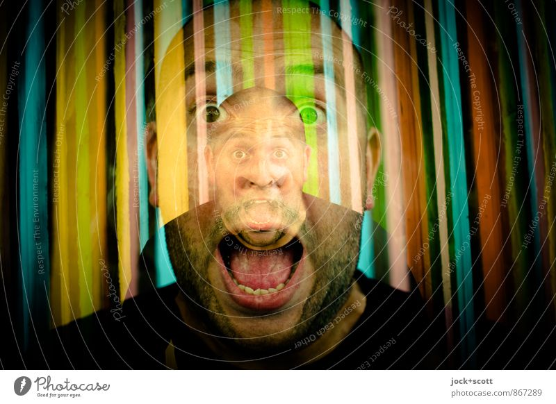 About-you Man 30 - 45 years Street art Bald or shaved head Designer stubble Scream Exceptional Fantastic Crazy Euphoria Identity Whimsical Double exposure