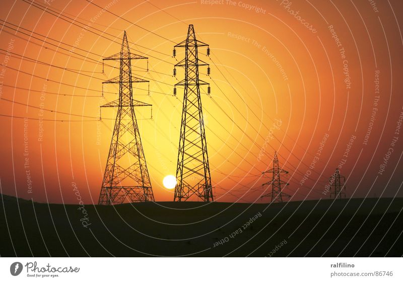 Sunset and Energy High voltage power line Electricity pylon Emotions Transmission lines Energy industry Evening Industry Dusk