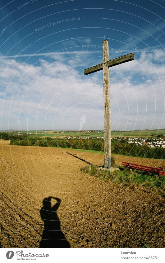 Landscape Religion and faith Back Vantage point Monument Landmark Christianity Blue sky Darken