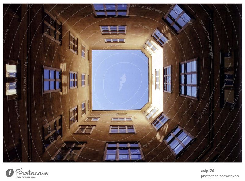 Sky blue D House (Residential Structure) Window Shaft Facade Light Old building Bright Atrium Town Vienna Architecture Historic Interior courtyard Farm Old town