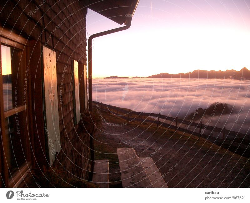 above the clouds Sunrise Sunbeam Arise House (Residential Structure) Window Horizon Morning Village Clouds Mountain Good morning! Good morning! Sky Dawn