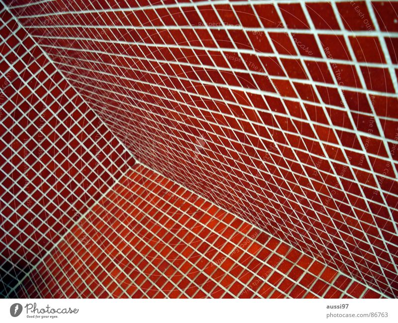 Red Corner Bathroom Tile Square Vanishing point