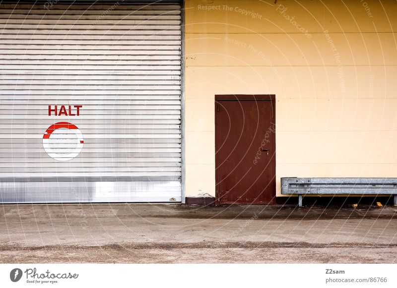 Red Street Wall (building) Style Brown Architecture Door Signs and labeling Transport Industrial Photography Floor covering Broken Simple Asphalt