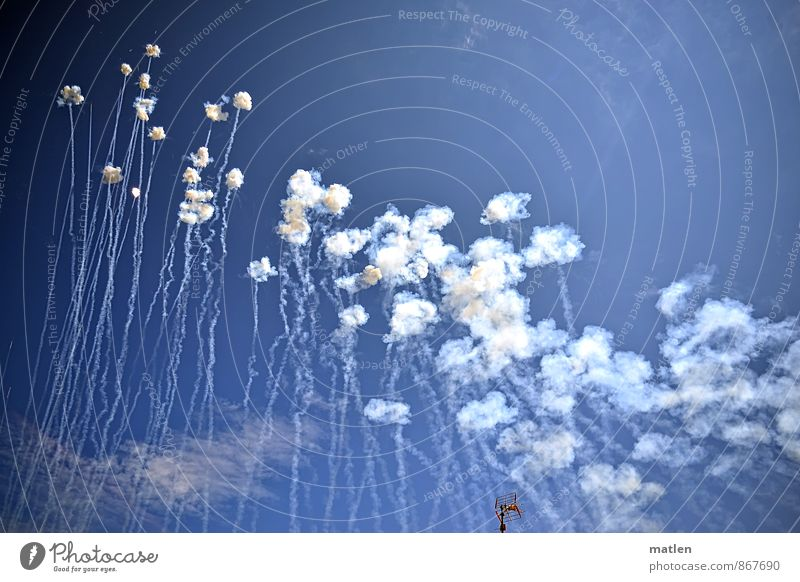 pfft...krrk Joy Feasts & Celebrations Fairs & Carnivals Blue White Happiness Firecracker Antenna Heaven Clouds Galicia Colour photo Exterior shot Deserted