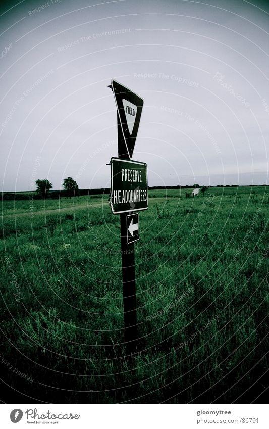 yield sign in field Summer USA prairie grassy murky mirky overcasting cloudiness drear moody preserve storm triangle greenish morose dark green sunless drab