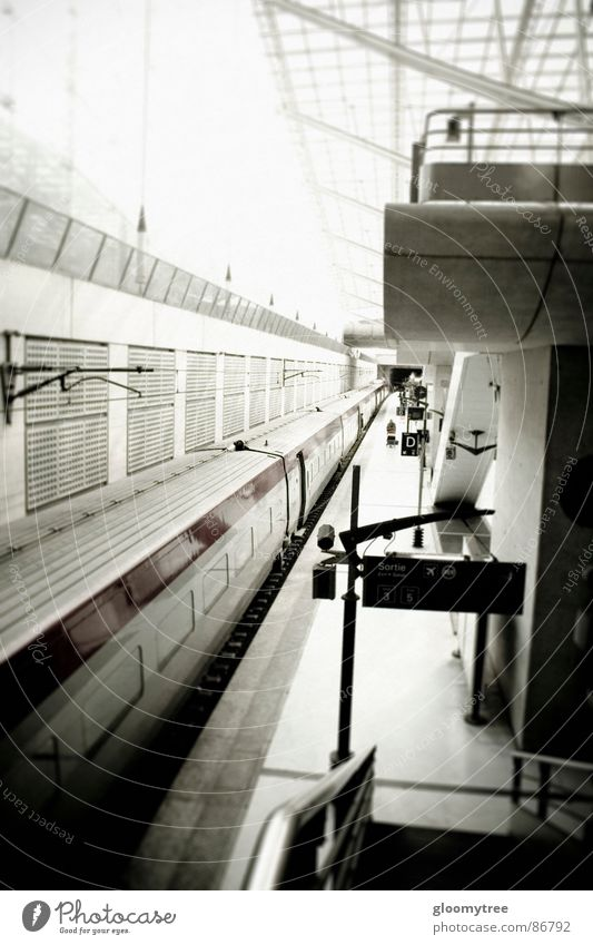 paris train station Paris Tram Coach Train station Black & white photo stylized desaturated railroad train commuter train railroad station railway station