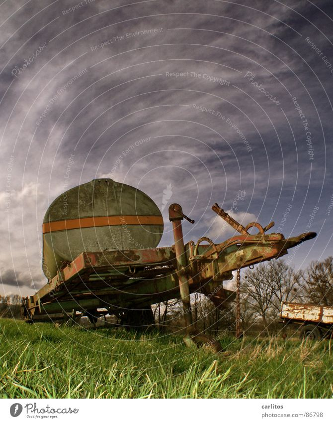 Old Green Meadow Grass Broken Transience Agriculture Farm Rust Pasture Tank Scrap metal Trailer Defective Useless Invalided out