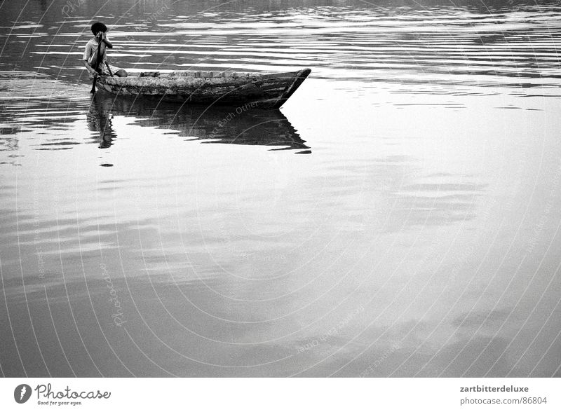 crossing Lake Watercraft Monochrome Calm Black & white photo Boy (child) River
