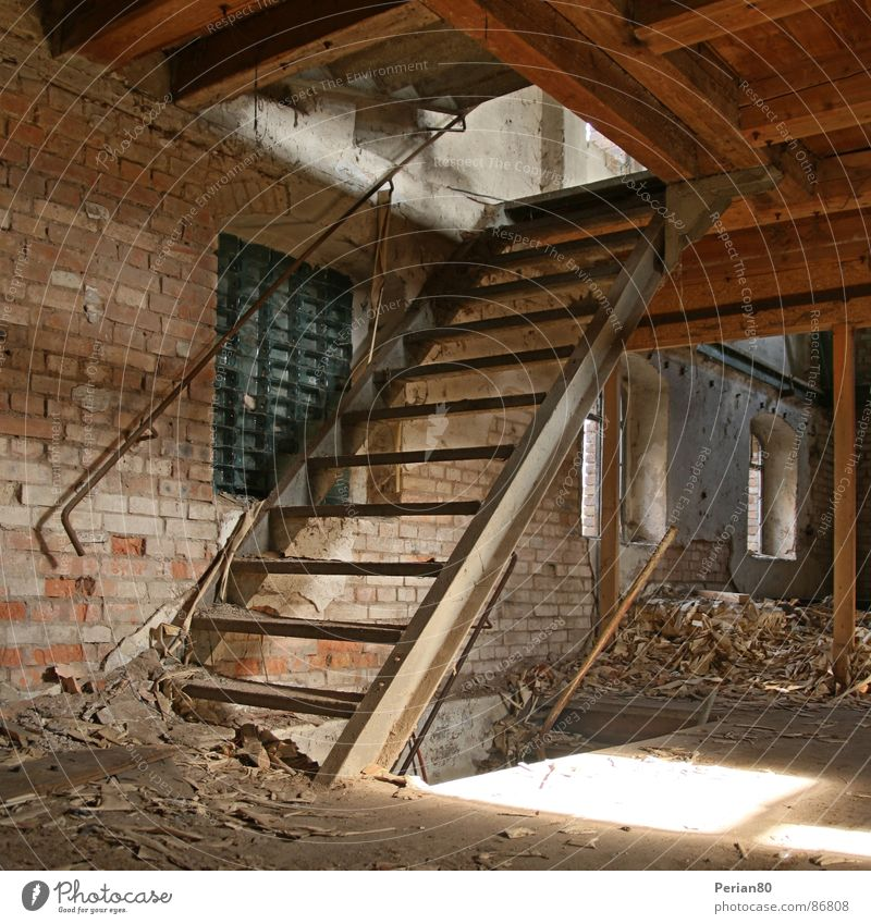 Loneliness Stairs Derelict Ruin Building rubble Joist