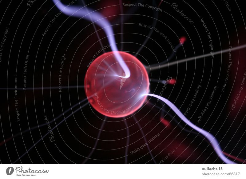 red planet II Plasma globe Globe Structures and shapes Planet Light Lightning Stripe Corona Red Touch Playing Electricity Mars Beacon Radiation Strike