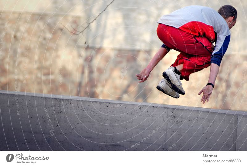 Youth (Young adults) Sports Playing Movement Flying Culture Dynamics Hip & trendy Freak Hardcore Extreme Salto Acrobatics Trick Funsport Parkour