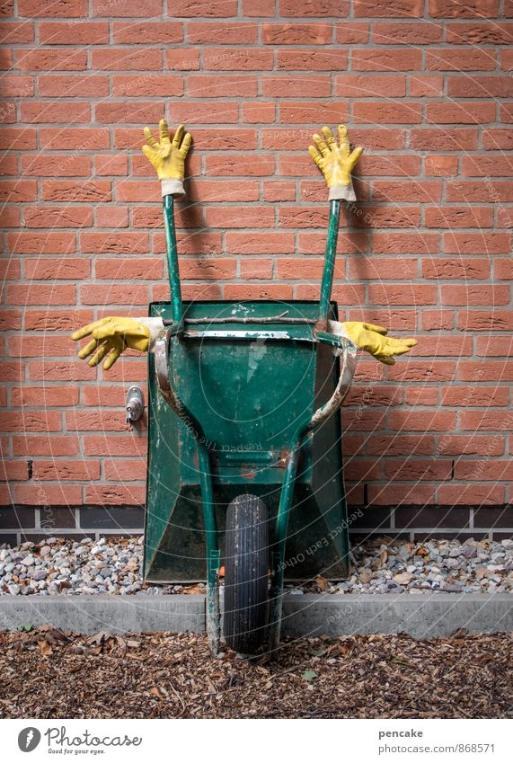Green Yellow Wall (building) Wall (barrier) To enjoy Sleep Sign Brick Hang Sculpture Gardening Closing time Gloves Crossed Brick wall Gardener