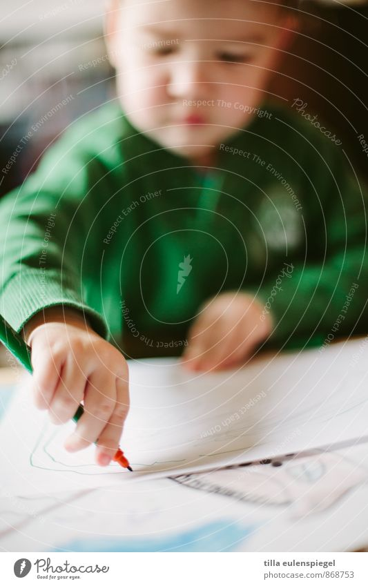 right-handers Leisure and hobbies Masculine Child Boy (child) 1 Human being 3 - 8 years Infancy Painter Sweater Make Draw Green Creativity Concentric Filter