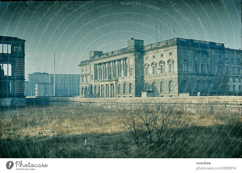 old slide recording of berlin - once in germany Town Capital city Deserted Ruin Manmade structures built Architecture Tourist Attraction Concrete Old Decline